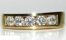 1.00ct DIAMONDS BAND RING 14KT CLASSIC CHANNEL