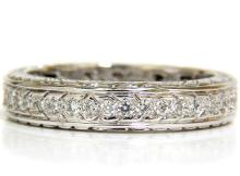 1.05CT ROUND DIAMONDS ETERNITY BAND RING 14KT F/VS SIZE