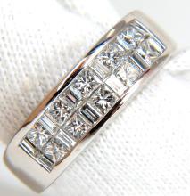 PLATINUM 2.00CT DIAMONDS BAND G/VS BAGUETTE & PRINCESS