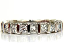 2.85CT PRINCESS DIAMONDS ETERNITY RING H/VS 14KT 7.25