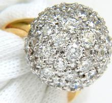 5.75CT 18KT DIAMOND BALL CLUSTER RING G/VS COCKTAIL