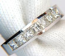 1.00CT BRILLIANT PRINCESS CUTS DIAMOND BAND 14KT H/VS