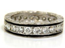 2.26CT DIAMONDS ETERNITY BAND 14KT & BLACK ENAMEL 14KT
