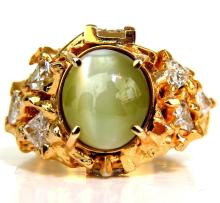 18KT 12.09ct NATURAL CATS EYE NUGGET DIAMOND RING GENTS