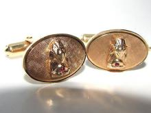UNKNOWN DESIGN CUFFLINKS / STUD SET 14KT GOLD HEAVY