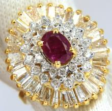 3.26CT NATURAL RUBY DIAMONDS BALLERINA COCKTAIL CLUSTER
