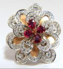 2.36ct NATURAL RUBY DIAMONDS 4 TIER 3d COCKTAIL PETAL