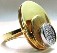 18KT .15CT DIAMONDS 3 TIER 3D STEP RING DESIGNER
