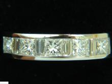 1.50CT PLATINUM PRINCESS & BAGUETTE DIAMOND RING H/VS