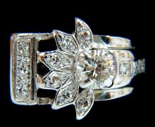 .72ct. VICTORIAN REVIVAL DIAMONDS COCKTAIL RING G/VS