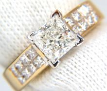 2.03CT PRINCESS CUT DIAMONDS RING & CHANNEL SIDE