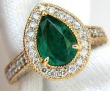2.76 Natural Vivid Green Emerald Diamond Ring 14kt Pear