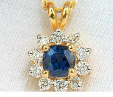 14KT 2.77CT NATURAL FINE GEM BLUE SAPPHIRE DIAMONDS