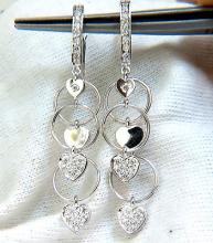.70CT HEARTS & RINGS DIAMONDS DANGLE EARRINGS 14KT G/VS