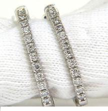 .68CT DIAMONDS ELONGATED HOOP EARRINGS G /VS SNAP EASY
