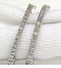 .85CT DIAMONDS HOOP EARRINGS G /VS SNAP EASY BUTTON
