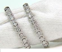.90CT DIAMONDS HOOP EARRINGS CIRCULAT ROPE TWIST DECO
