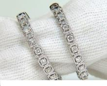 1.00CT DIAMONDS HOOP EARRINGS ROPE TWIST DECO 14KT SNAP