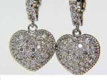 1.00CT DIAMONDS HEART HOOP DANGLE EARRINGS G/VS FULL