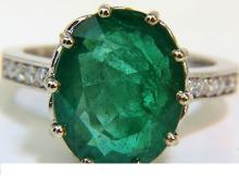 7.40CT NATURAL DIAMOND EMERALD RING 14KT VIVID SHEEN