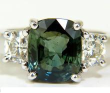 6.96CT NO HEAT NATURAL GREEN SAPPHIRE DIAMOND RING