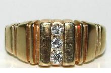 MENS .30CT DIAMONDS RING 14KT BRICK PATTERN BIG