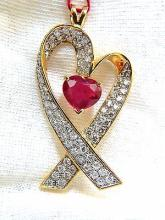 18KT 7.00CT ENHANCED HEART RUBY DIAMONDS PENDANT HEART