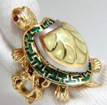 OPEN SHELL BABY INNER NUGGET VINE WIGGLE TURTLE RING 3D