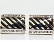 1.40CT DIAMONDS BLACK ONYX CUFFLINK SOLID MAKE 14KT BIG