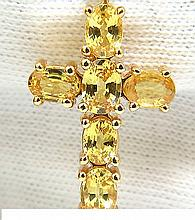14KT NATURAL GEM VIVID YELLOW SAPPHIRES CROSS NECKLACE
