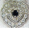 1.25CT NATURAL SAPPHIRE DIAMOND CLUSTER NECKLACE 14KT