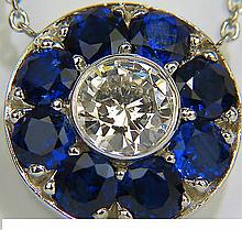 3.82CT NATURAL SAPPHIRE DIAMOND & YARD NECKLACE 14kt