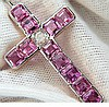 18KT GIA 10.41CT NATURAL PINK SAPPHIRE DIAMOND CROSS