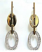 .40CT DIAMONDS DANGLE EARRINGS 14KT TWO TONED F/VS