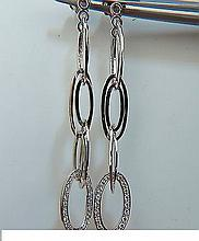 14KT .46CT ELONGATED OVALS DIAMOND DANGLE EARRINGS
