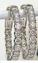 1.46CT DIAMONDS HOOP EARRINGS G/VS FULL CUTS & SNAP