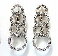 2.00CT GRADUATED 4 CIRCLES DANGLE DIAMOND EARRINGS G/VS