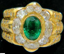 18KT 4.00CT NATURAL EMERALD DIAMOND RING CUSTOM DETAIL