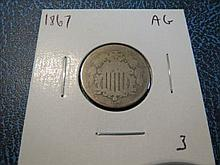 1867 Sheild Nickel - AG