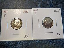 Roosevelt Dimes Proof: 1984S & 2000S