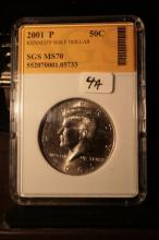 2001P JFK Half Dollar Graded MS70 in an SGS Slab