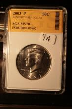 2003P JFK Half Dollar Graded MS70 in an SGS Slab