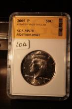 2005P JFK Half Dollar Graded MS70 in an SGS Slab