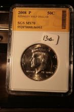 2008P JFK Half Dollar Graded MS70 in an SGS Slab