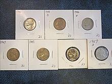 Jefferson Nickels: 1940, 1940D, 1946D, 1947, 1949, 1961 & 1969S