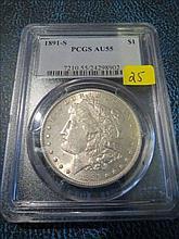 1891S Morgan Silver Dollar - PCGS AU55