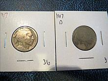 1917 & 1917D Buffalo Nickel - acid date