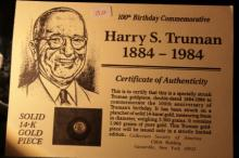 1984 14K Gold Commemorative Harry Truman 100th Birthday Anniversary 14k Gold Piece 9mm diameter 3.36gr total weight