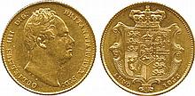 BRITISH COINS, MILLED GOLD SOVEREIGNS, William IV,