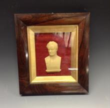 A 19th century Scottish wax portrait, of an Enlightenment gentleman, indist
